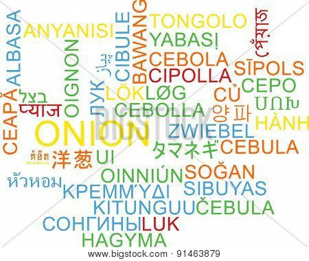 Background concept wordcloud multilanguage international many language illustration of onion
