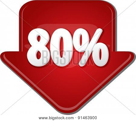 Downward glossy red arrow percent discount eighty 80