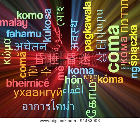 Background concept wordcloud multilanguage international many language illustration of coma glowing light