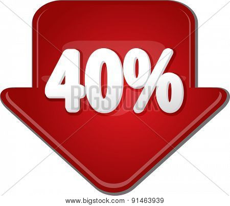 Downward glossy red arrow percent discount forty 40