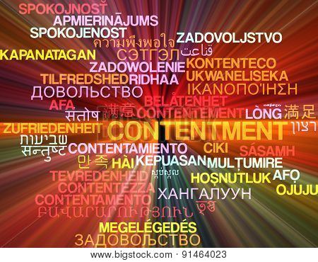 Background concept wordcloud multilanguage international many language illustration of contentment glowing light