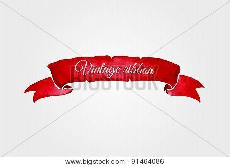 Watercolor vector vintage ribbon