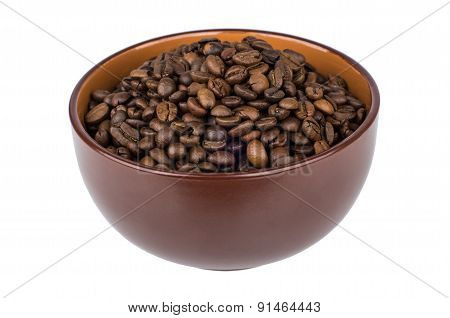 Brown Ceramic Bowl With Coffee Beans
