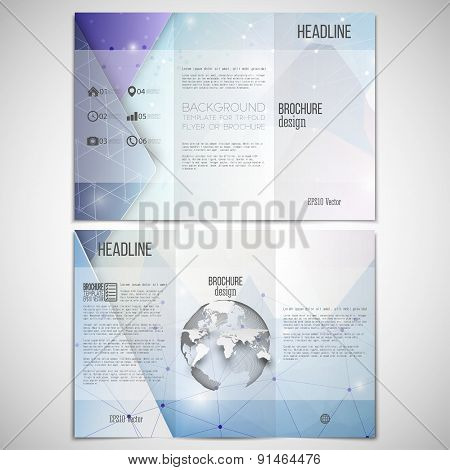 Vector set of tri-fold brochure design template on both sides with world globe element. Abstract blu