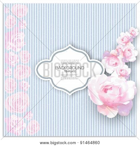 Marriage invitation card with place for text and pink flowers over linear blue shabby background, ve