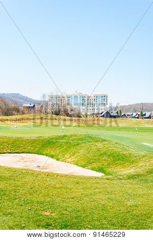 Quba - MARCH 26, 2015: Golf Course at Quba Rixos Hotel on March 26 in Azerbaijan, Quba. Rixos hotel offers the only golf range in Azerbaijan
