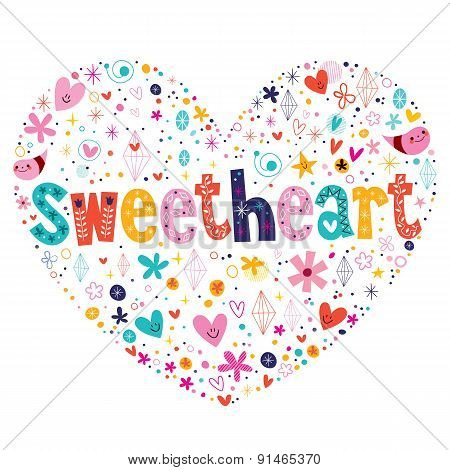 sweetheart heart shaped typography lettering card