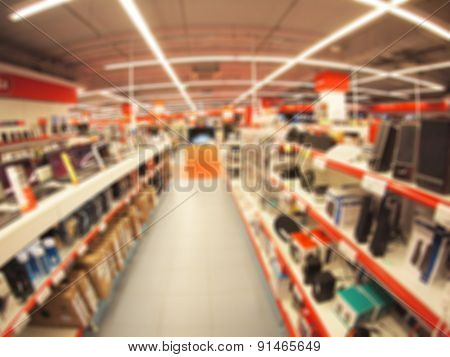 Defocused And Blurry Image Of The Store Computer Equipment