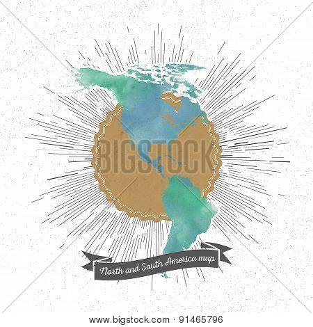 North and south America map with vintage style star burst, mint watercolor background, retro element