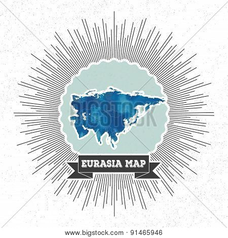 Eurasia map with vintage style star burst, blue watercolor background, retro element for your design