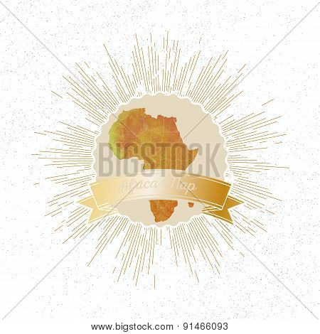Africa map with vintage style star burst, yellow watercolor background, retro element for your desig