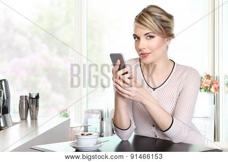 Beautiful Woman In Coffee With Mobile Phone, Drinks Cappuccino