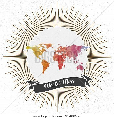 World map with vintage style star burst, colorful rainbow watercolor background, retro element for y