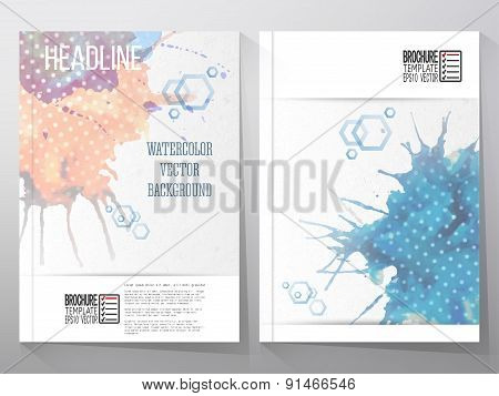 Abstract hand drawn watercolor background with empty place for text message, grunge style illustrati