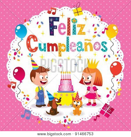 Feliz Cumpleanos - Happy Birthday in Spanish kids card