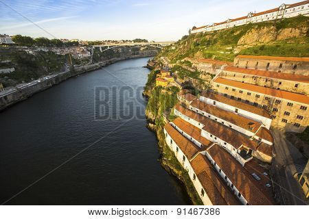 Top View of Douro river at Porto, and right coast - Vila Nova de Gaia, Portugal.