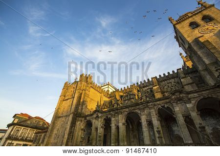 Porto Cathedral or Se do Porto, Portugal. Romanesque architecture.
