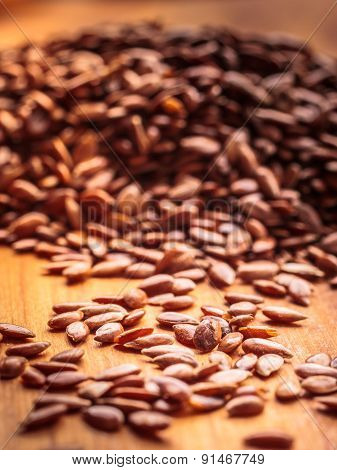 Heap Of Flax Seeds Linseed Closeup