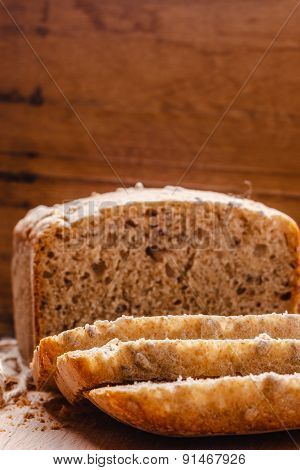 Sliced Whole Wheat Bread On Cutting Board