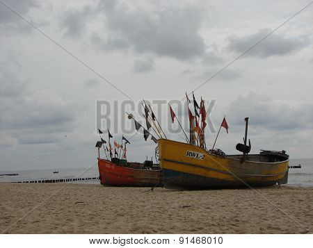 Fishing boats on the Balitc sea shore