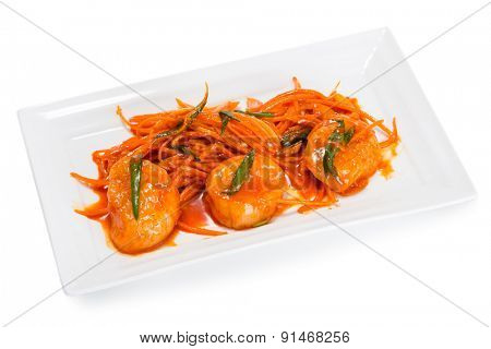 Salad with scallop meat with carrots and spices. From a series of Food Korean cuisine.