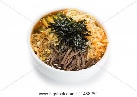 Cooksey - a Korean national dish of thin noodles, broth, with the addition of a variety of cooked vegetables and meat. From a series of Food Korean cuisine.