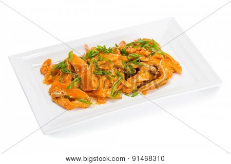 Spicy salad heh with salmon and onions. From a series of Food Korean cuisine.
