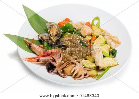 Fried seafood with vegetables and rice noodles. From a series of Food Korean cuisine.