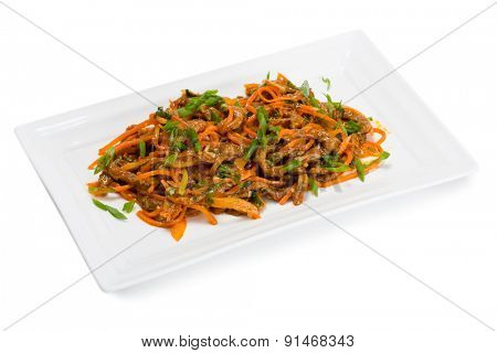 Spicy salad heh beef meat , carrots and green onions. From a series of Food Korean cuisine.