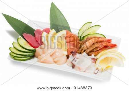 Sashimi raw seafood assortment , tuna, salmon, octopus and others. From a series of Food Korean cuisine.