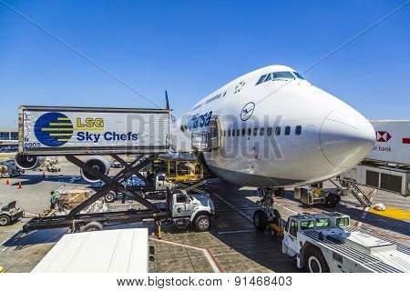 Lufthansa Boeing 747 Parks At Gate Position