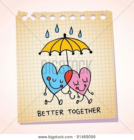 better together notepad paper cartoon illustration