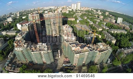 RUSSIA, MOSCOW - MAY 23, 2014: Cityscape of residential complex Vinogradny. Aerial view