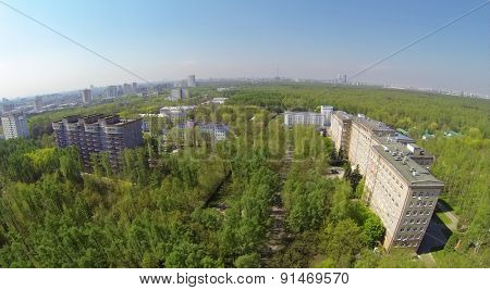 MOSCOW, RUSSIA - MAY 1, 2014: Buildings of Central Clinical Hospital named by Semashko at sunny spring day. Aerial view.