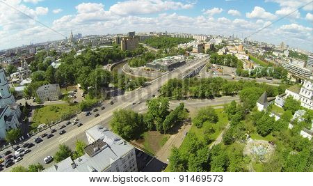RUSSIA, MOSCOW - MAY 14, 2014: Cityscape near Spaso-Andronikov and St. Sergius of Radonezhsky monastery. Aerial view.