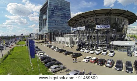 RUSSIA, MOSCOW - MAY 14, 2014: Dealer center Avilon of Mercedes-Benz company at spring day. Aerial view.