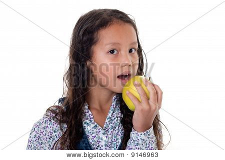 Girl Eats Apple