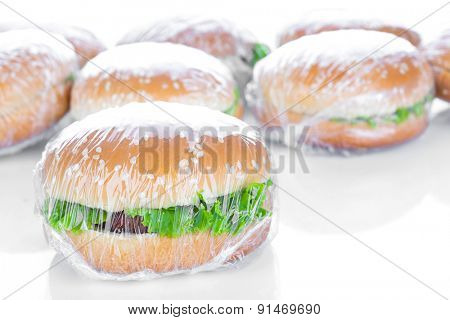 Wrapping Hamburger on white background