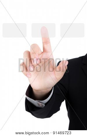Business hand pushing a button on a touch screen interface