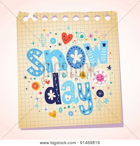 snow day notepad paper cartoon illustration