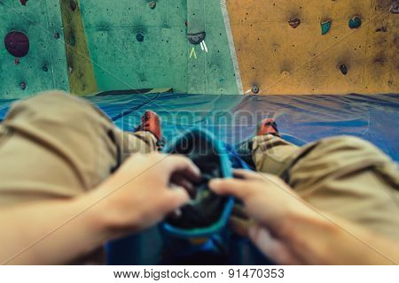 Pov Image Of Woman Preparing To Climb