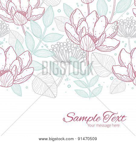 Vector modern line art florals horizontal border card template