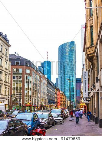 street life in the Muenchner strasse in Frankfurt