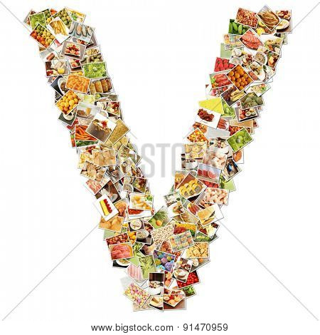 Letter V Uppercase Font Shape Alphabet Collage