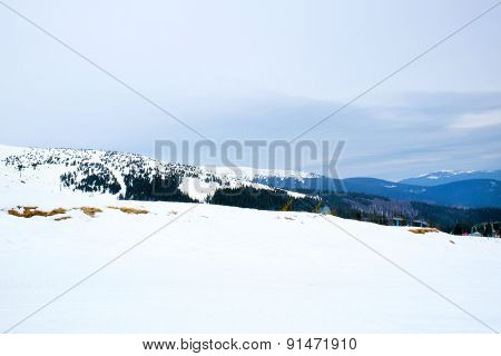 Snowy mountains in wintertime