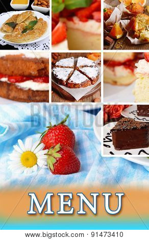 Delicious desserts menu
