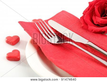 Festive table setting for Valentine Day isolated on white