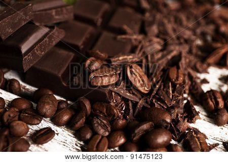 Dark chocolate with coffee grains, closeup