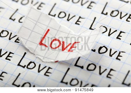 Word LOVE written on torn paper on sheet of paper background