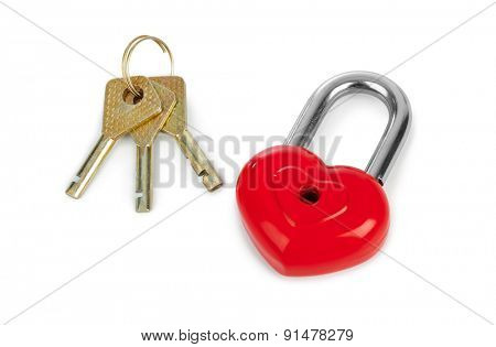 Heart shaped lock and keys isolated on white background